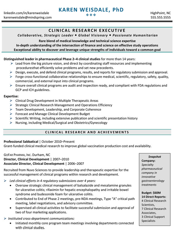 Clinical PhD resume